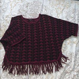 Relativity 3/4 sleeve sweater with fringe